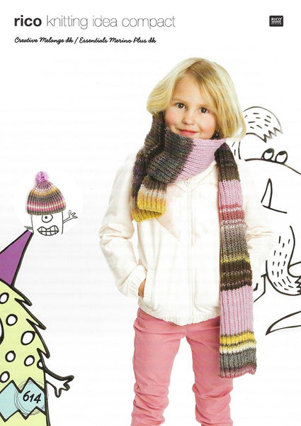 Rico 614 - Childs Hat & Scarf in Rico Creative Melange DK Pattern