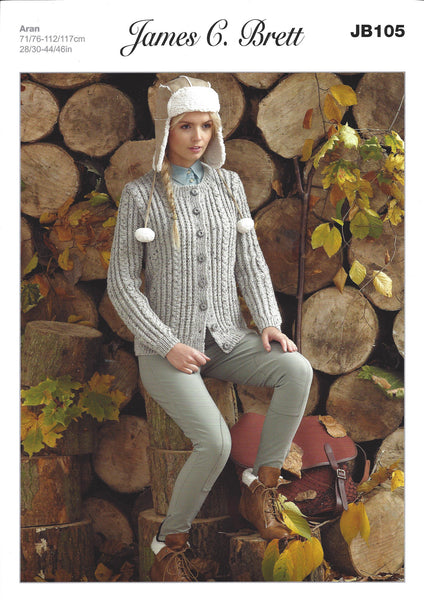 James C Brett JB105 - Ladies Cardigan in Aran Pattern - The Crafty Knitter