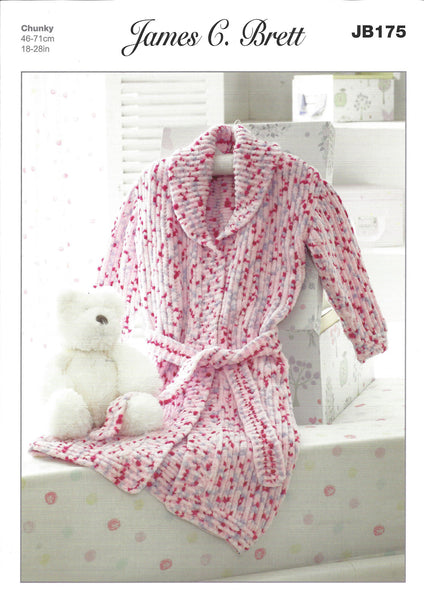 James C Brett JB175 - Childrens Dressing Gown in Chunky Pattern - The Crafty Knitter Ltd - 1
