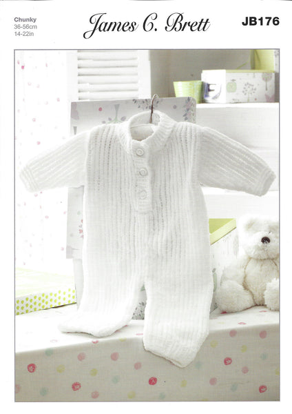 James C Brett JB176 - Childrens Onesie in Chunky Pattern - The Crafty Knitter Ltd - 1