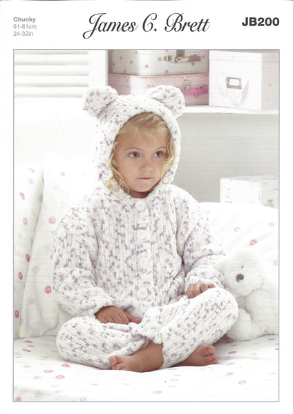 James C Brett JB200 - Childrens Onesie in Chunky Pattern - The Crafty Knitter Ltd - 1