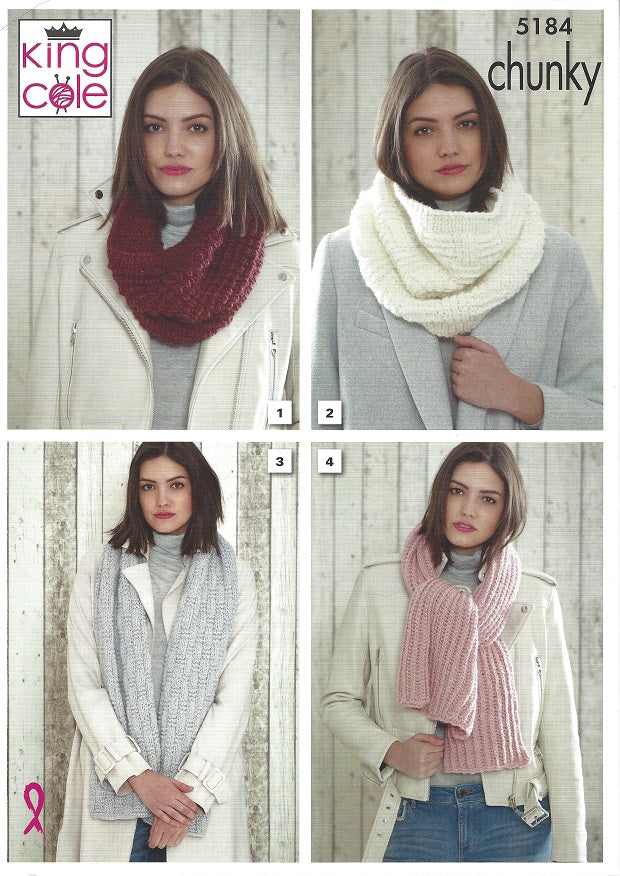 King Cole 5184 - Snoods & Scarves in Super Chunky Knitting Pattern ...