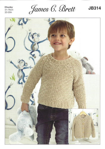 James C Brett JB314 - Childrens Sweater & Cardigan in Chunky Pattern - The Crafty Knitter Ltd - 1