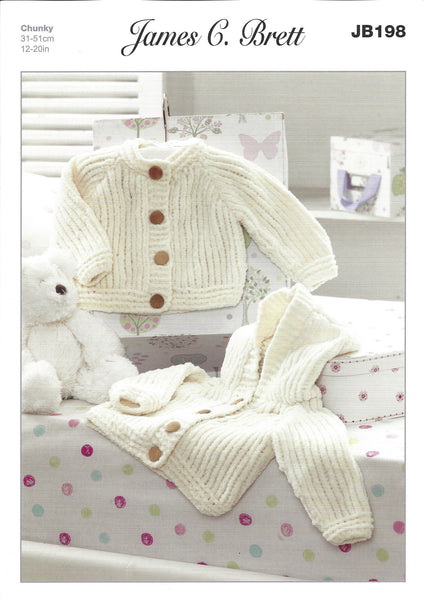 James C Brett JB198 - Baby's Jackets  in Chunky Pattern - The Crafty Knitter Ltd - 1
