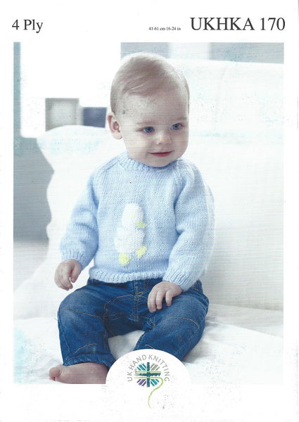 UKHKA 170 - Babies Embroidered Sweaters in 4 Ply Pattern