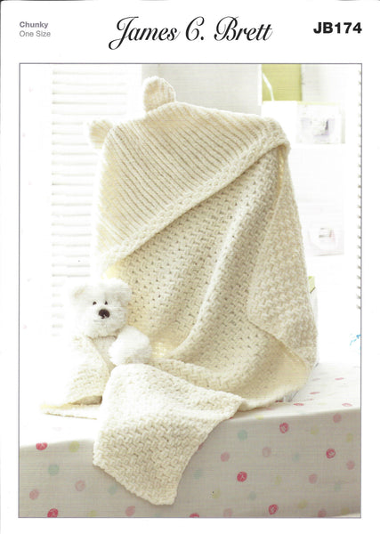 James C Brett JB174 - Hooded Blanket in Chunky Pattern - The Crafty Knitter Ltd - 1
