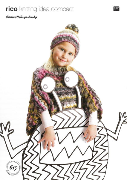 Rico 615 - Childs Poncho & Hat in Rico Creative Melange Chunky Pattern