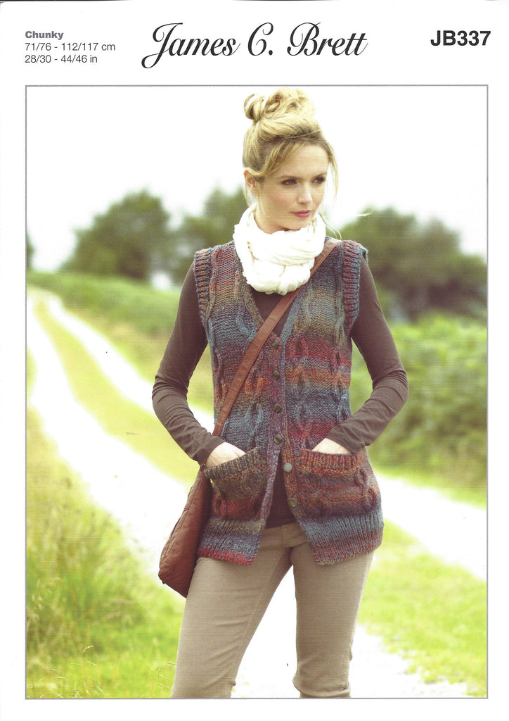 James C Brett JB337 - Ladies Waistcoat in Chunky Pattern - The Crafty Knitter Ltd - 1