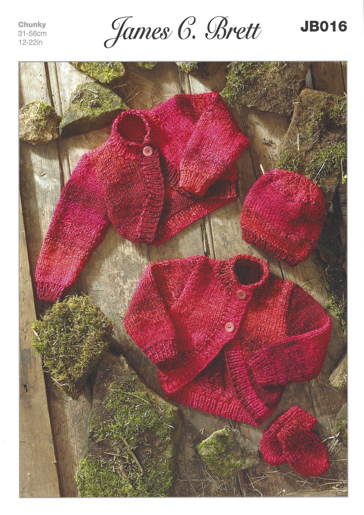 James C Brett JB016 - Baby Bolero, Hat & Mittens in Chunky Pattern - The Crafty Knitter Ltd - 1