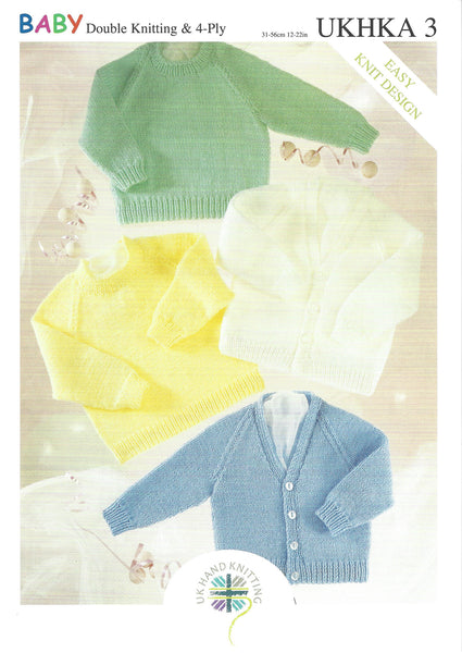 UKHKA 3 - Baby Cardigans & Jumpers in DK & 4 Ply Patterns - The Crafty Knitter Ltd