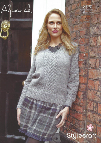 Stylecraft 8720 - Ladies Sweater in Alpaca DK Knitting Pattern - The Crafty Knitter