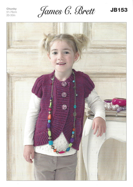 James C Brett JB153 - Girls Cardigan in Chunky Pattern - The Crafty Knitter Ltd - 1