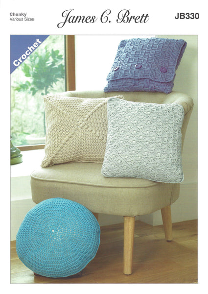 James C Brett JB330 - Crochet Cushions in Chunky Pattern - The Crafty Knitter Ltd - 1