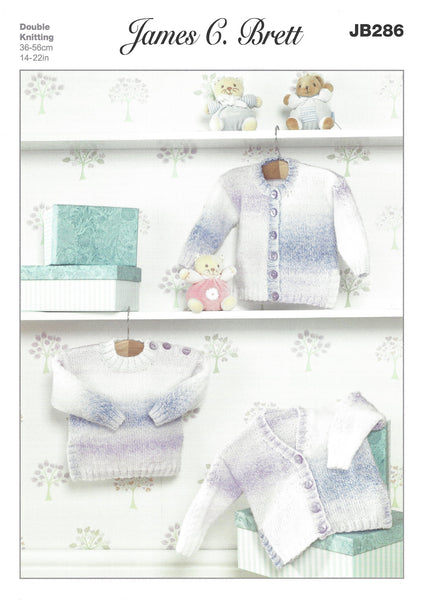 James C Brett JB286 - Baby's Cardigan & Sweater in DK Pattern - The Crafty Knitter Ltd - 1