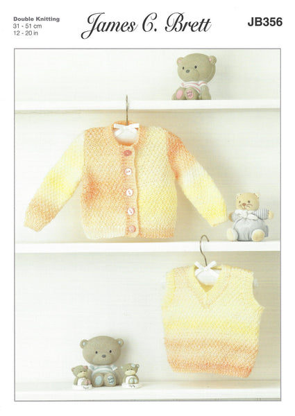 James C Brett JB356 - Baby's Cardigan & Pullover in DK Pattern - The Crafty Knitter Ltd - 1