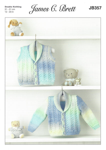 James C Brett JB357 - Baby's Cardigan & Waistcoat in DK Pattern - The Crafty Knitter Ltd - 1