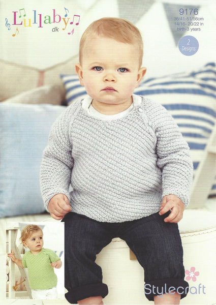 Stylecraft 9176 - Baby Travelling Rib Jumpers in Lullaby DK Pattern - The Crafty Knitter