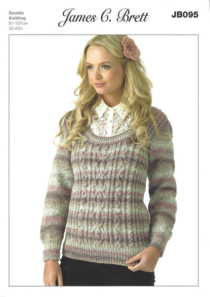 James C Brett JB095 - Ladies Sweater in DK Pattern - The Crafty Knitter Ltd - 1