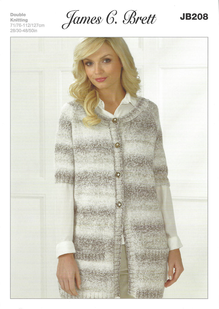 James C Brett JB208 - Ladies Cardigan in DK Pattern - The Crafty Knitter Ltd - 1