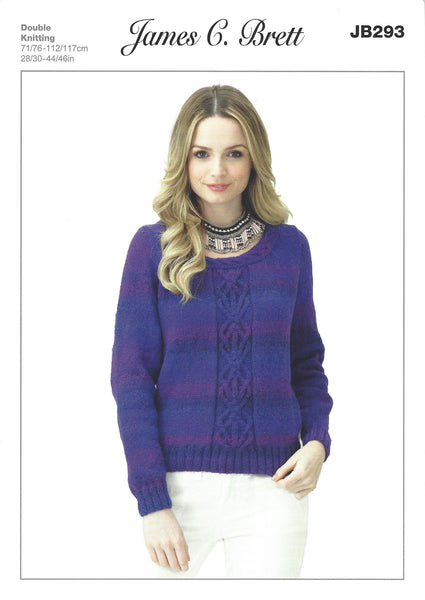 James C Brett JB293 - Ladies Sweater in DK Pattern - The Crafty Knitter Ltd - 1