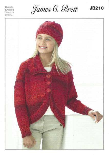 James C Brett JB210 - Girls Jacket & Hat in DK Pattern - The Crafty Knitter Ltd - 1