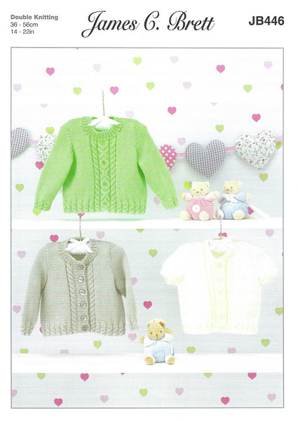 James C Brett JB446 - Babies Sweater & Cardigans in DK Pattern