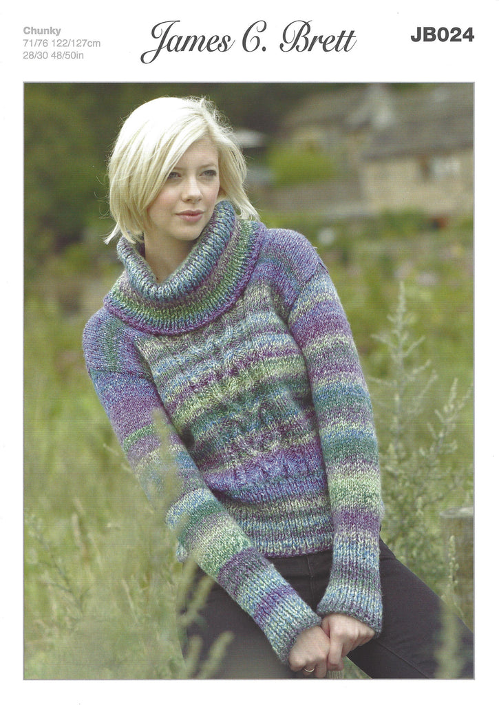 James C Brett JB024 - Ladies Sweater in Chunky Knitting Pattern - The Crafty Knitter