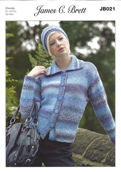 James C Brett JB021 - Ladies Cardigan & Hat in Chunky Pattern - The Crafty Knitter