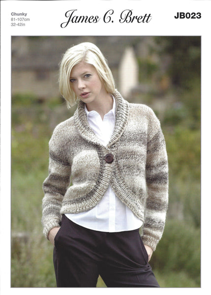 James C Brett JB023 - Ladies Cardigan in Chunky Pattern - The Crafty Knitter