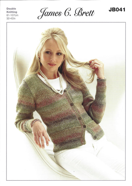 James C Brett JB041 - Ladies Cardigan in DK Pattern - The Crafty Knitter Ltd - 1