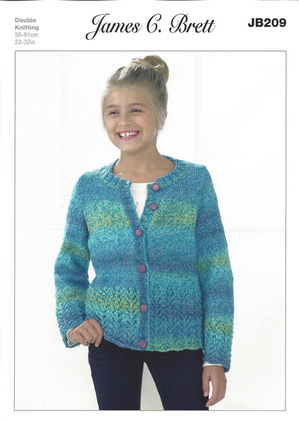 James C Brett JB209 - Girls Cardigan in DK Pattern - The Crafty Knitter Ltd - 1