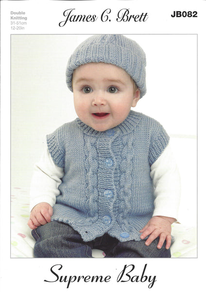 James C Brett JB082 - Baby's Cardigan, Waistcoat, Hat & Mittens in DK Pattern - The Crafty Knitter Ltd - 1