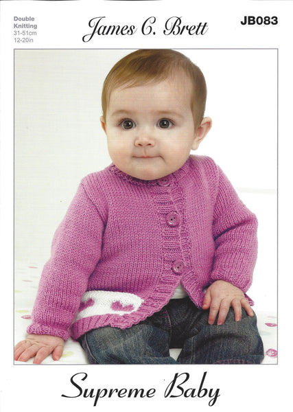 James C Brett JB083 - Baby's Cardigan and Hat in DK Pattern - The Crafty Knitter Ltd - 1