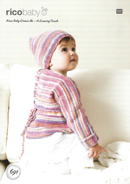 Rico 691 - Babies Wrap Over Cardigan & Hat in Rico Baby Dream DK Pattern