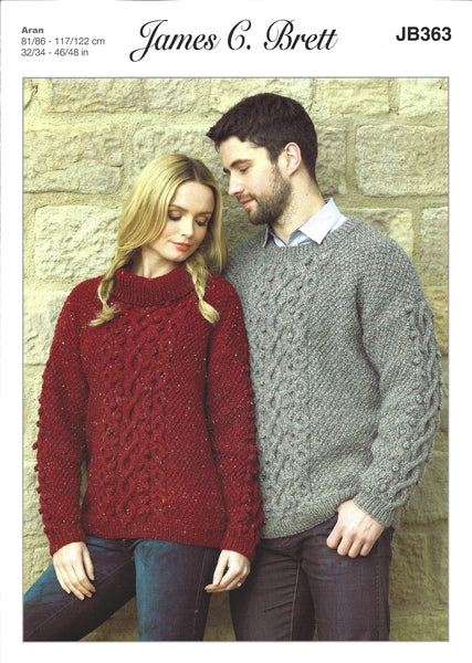 James C Brett JB363 - Unisex Sweater in Aran Pattern - The Crafty Knitter Ltd - 1