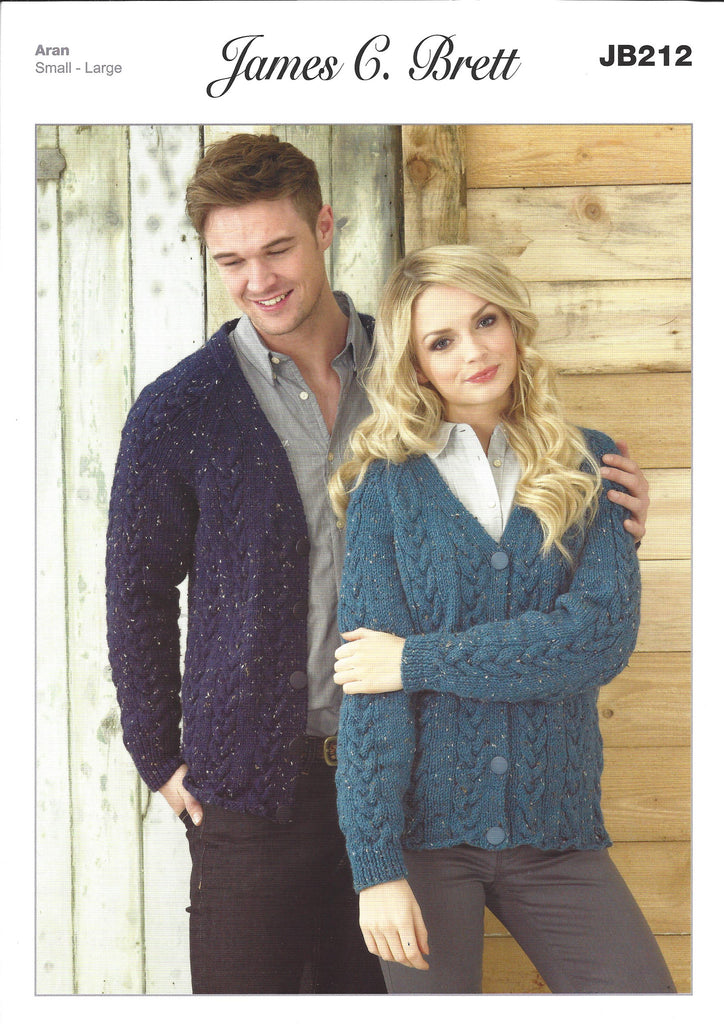 James C Brett JB212 - Mens & Ladies Cardigans in Aran Pattern - The Crafty Knitter Ltd - 1
