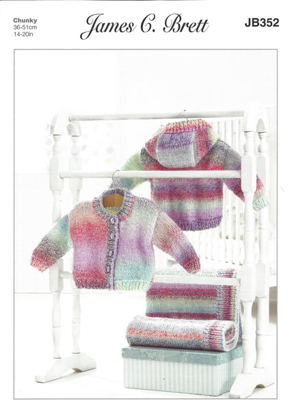 James C Brett JB352 - Baby's Jackets & Blanket in Chunky Pattern - The Crafty Knitter Ltd - 1