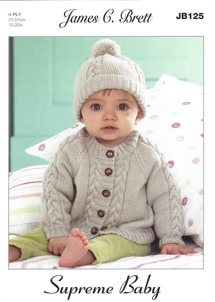 James C Brett JB125 - Baby Cardigan & Hat in 4 Ply Pattern - The Crafty Knitter