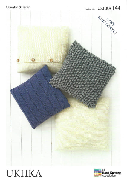 UKHKA 144 - Chunky & Aran Cushion Cover Pattern - The Crafty Knitter Ltd
