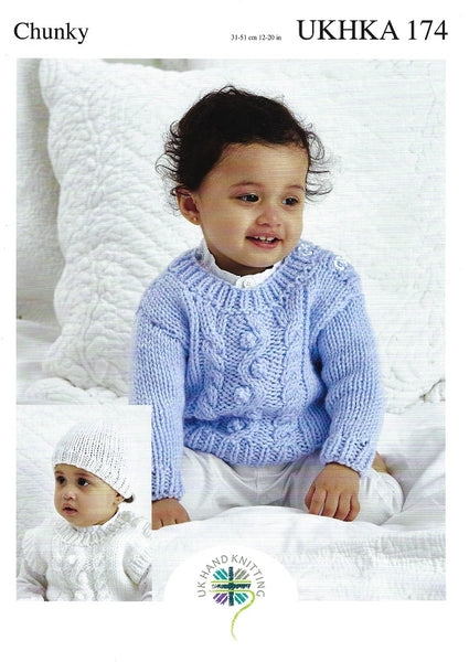 UKHKA 174 - Babies Sweater & Slipover in Chunky Pattern