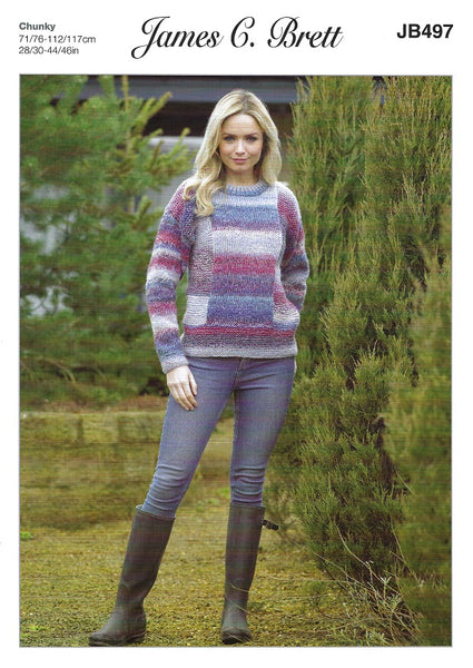 James C Brett JB497 - Ladies Sweater in Chunky Pattern