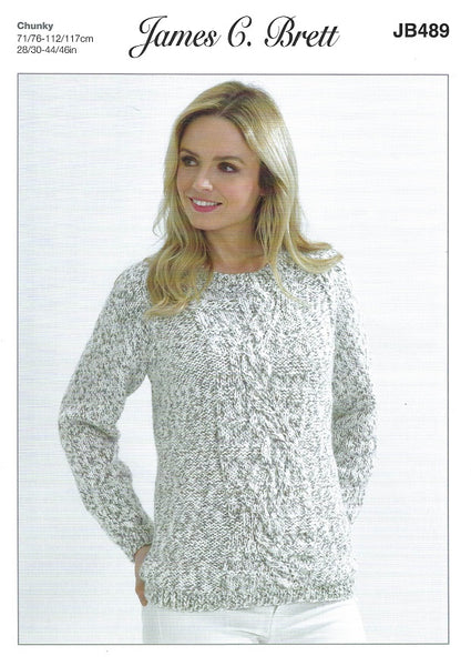James C Brett JB489 - Ladies Sweater in Chunky Pattern