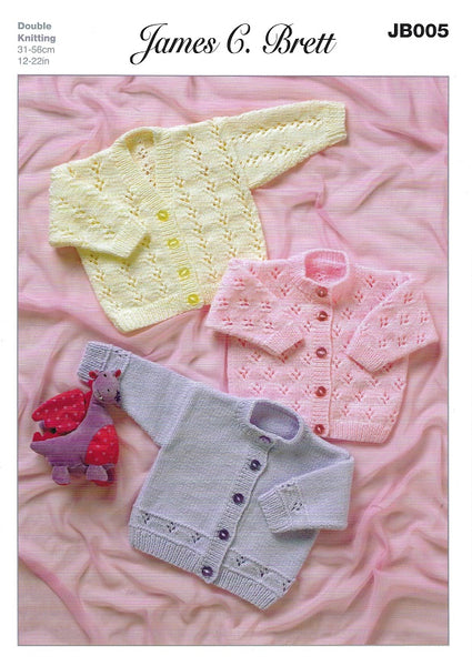 James C Brett JB005 - Baby Cardigans in DK Pattern