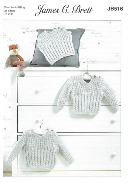 James C Brett JB516 - Babies Sweater & Slipover in DK Pattern