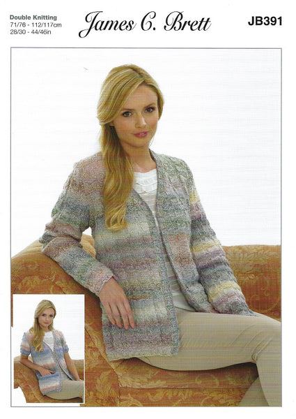 James C Brett JB391 - Ladies Jackets in Marble DK Pattern