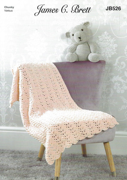 James C Brett JB526 - Teddy & Blanket in Flutterby Chunky Pattern