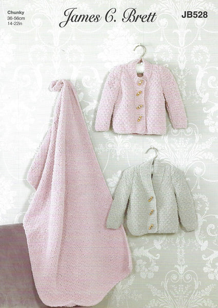 James C Brett JB528 - Babies Cardigan & Blanket in Flutterby Chunky Pattern
