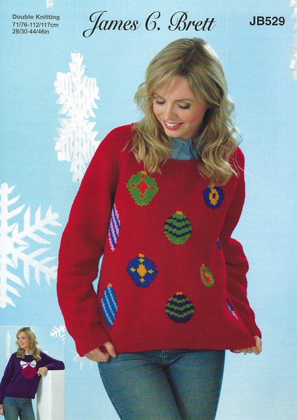 James C Brett JB529 - Ladies Christmas Sweaters in DK Pattern