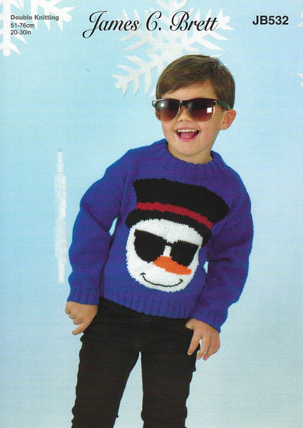 James C Brett JB532 - Childrens Sweater in DK Pattern