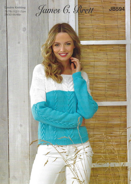 James C Brett JB594 - Ladies Sweater in DK Pattern